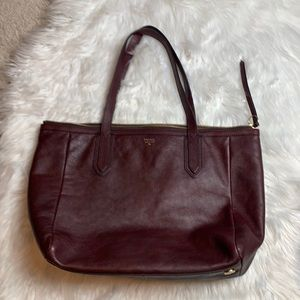 Fossil Maroon Leather Tote Bag